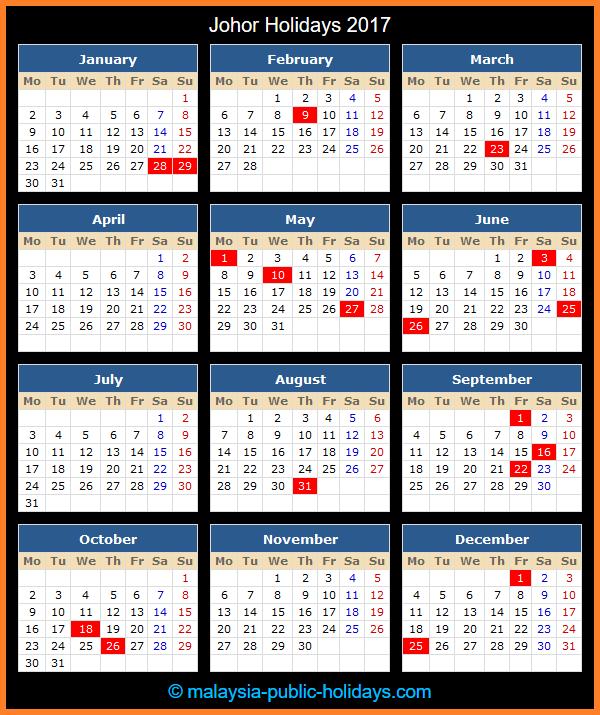 Johor Holiday Calendar 2017