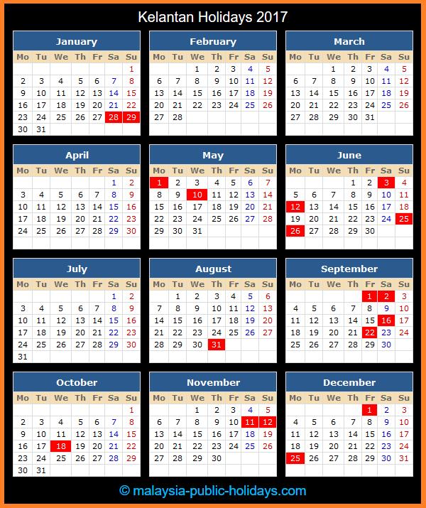 Kelantan Holiday Calendar 2017