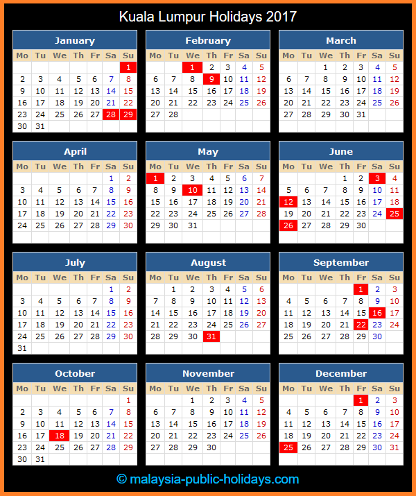 Kuala Lumpur Holiday Calendar 2017
