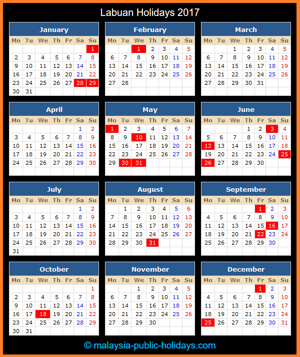 Labuan Holiday Calendar 2017