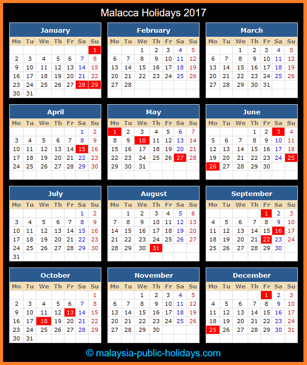 Malacca Holiday Calendar 2017