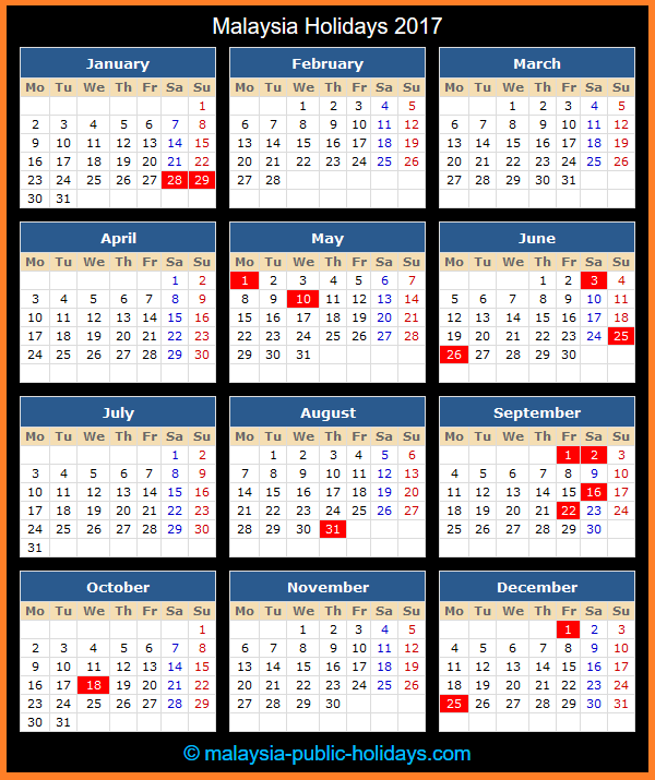 Malaysia Holiday Calendar 2017