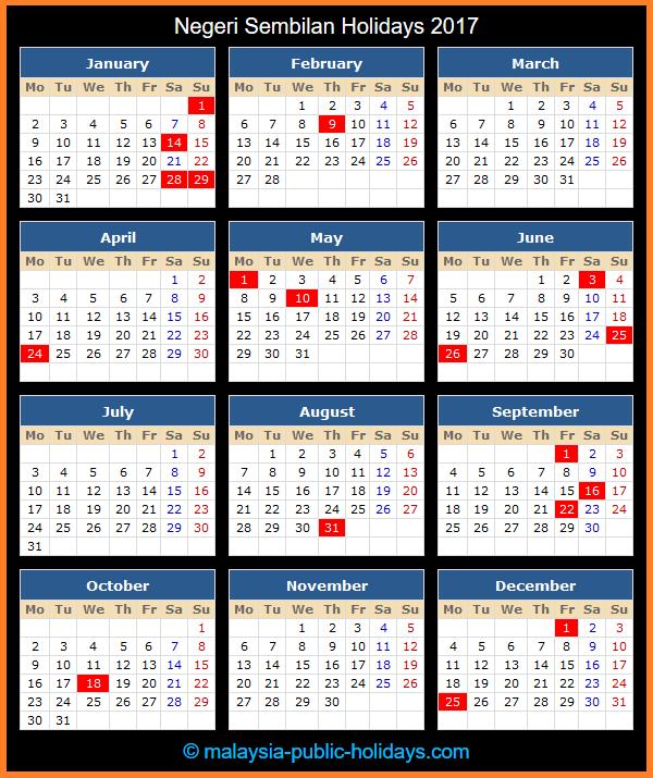 Negeri Sembilan Holiday Calendar 2017
