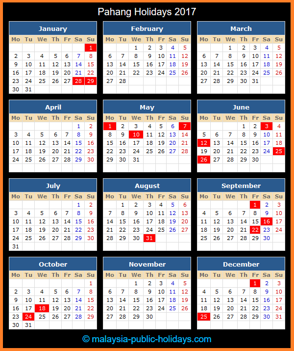 Pahang Holiday Calendar 2017