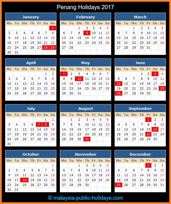 Penang Holiday Calendar 2017