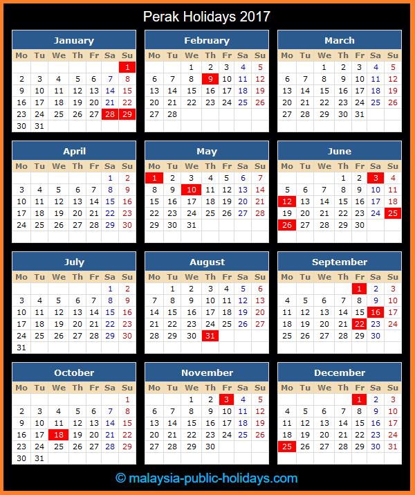 Perak Holiday Calendar 2017