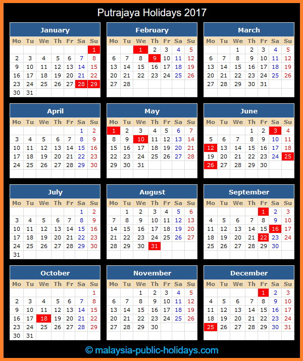 Putrajaya Holiday Calendar 2017