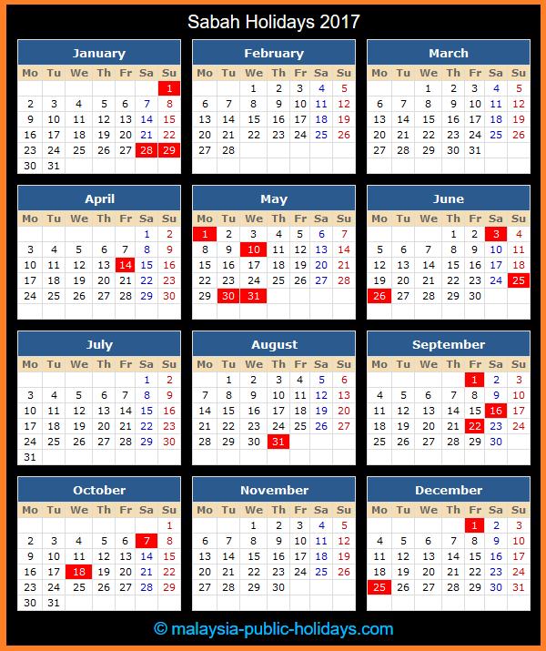 Sabah Holiday Calendar 2017