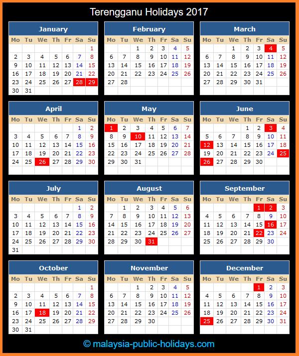 Terengganu Holiday Calendar 2017