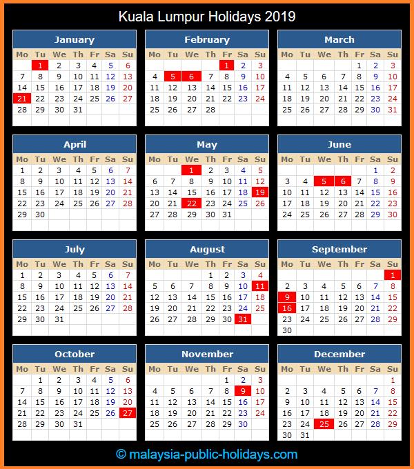 Kuala Lumpur Holidays 2019