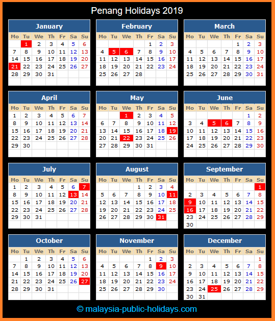 Penang Holiday Calendar 2019